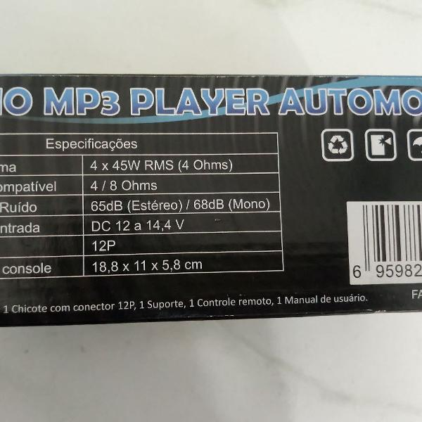 Rádio mp3 player automotivo.