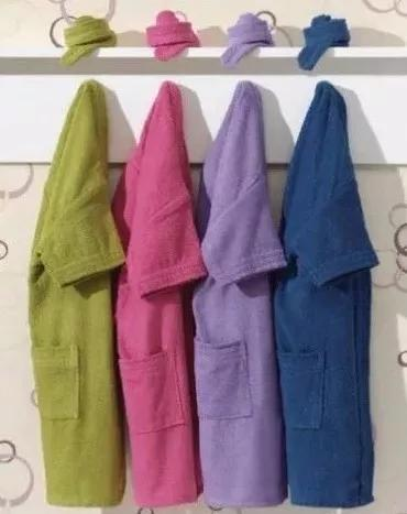 Roupão banho infantil atoalhado 100% algodão p 4 a 6 anos