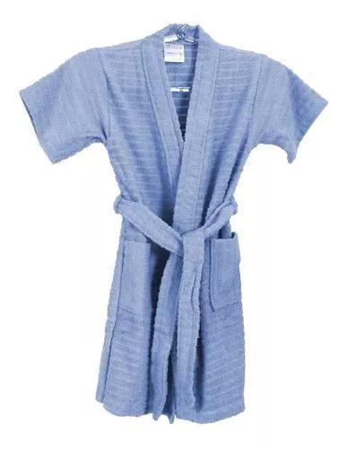 Roupão de banho atoalhado infantil algodão azul 10