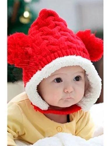 Touca forrada pompom gorro crochet frio criança infantil a2