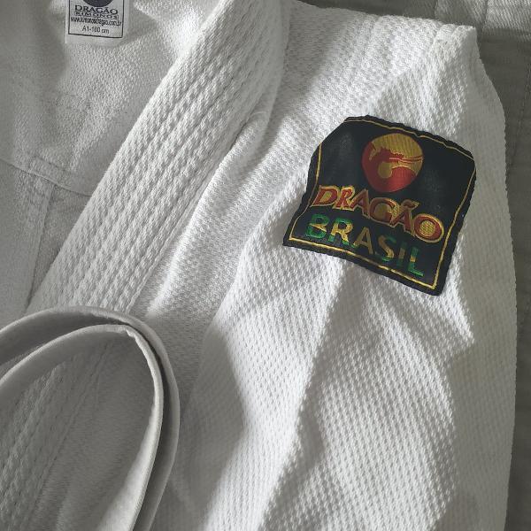Kimono judo a1 dragão + faixa - super novo