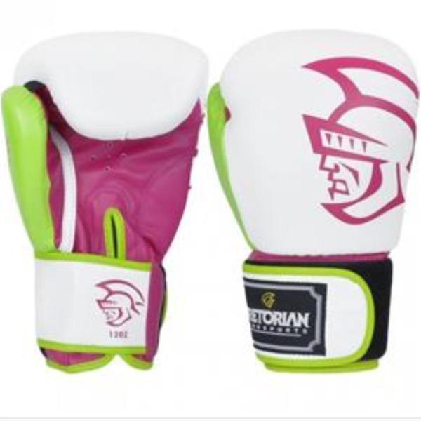 Luva de boxe pretorian branca e rosa