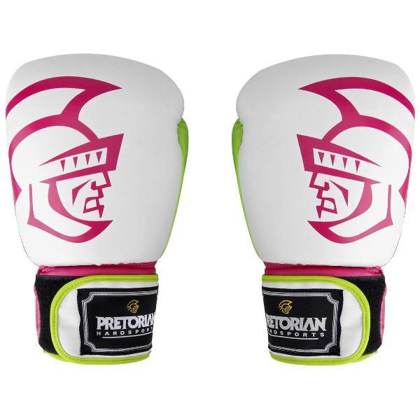 Luva de boxe pretorian first branca e rosa 10oz