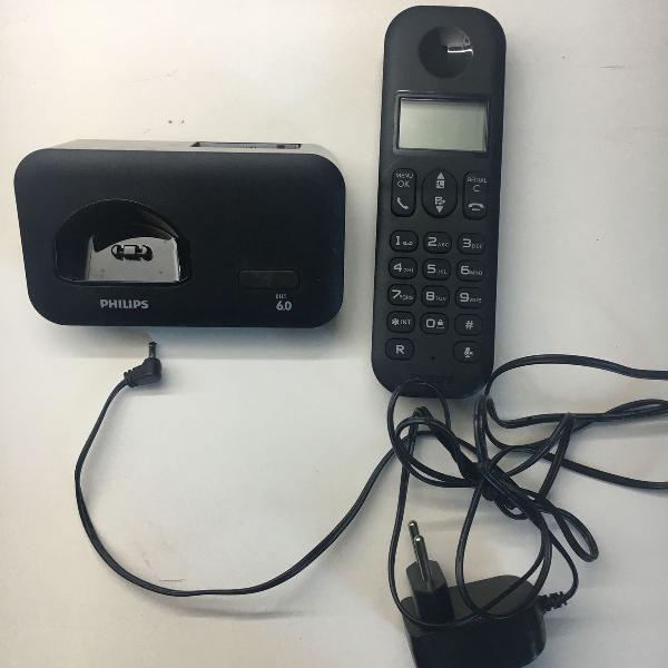 Telefone sem fio philips preto d1501b/br c/ identificador