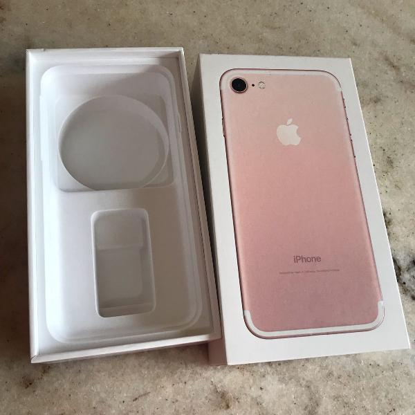 Caixa apple iphone 7 rose gold 32 gigas