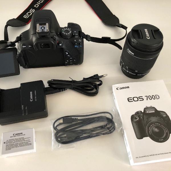 Camera canon 700d (t5i) + lente 18-55 mm + acessórios