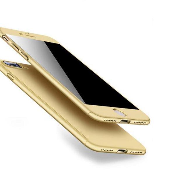 Capa capinha iphone 7 8 frente e verso 360 cor dourado gold