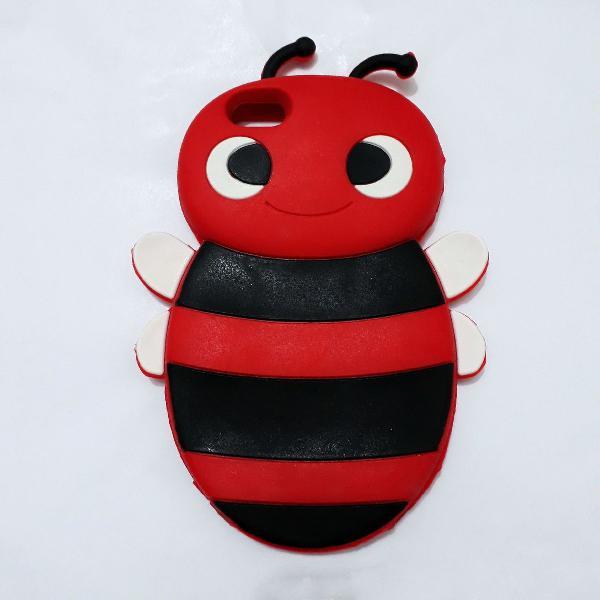 Capa de abelhinha para iphone 5c e 5s em silicone vermelho e