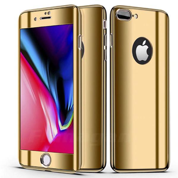 Capa iphone 7 8 dourado espelhado frente e verso + película