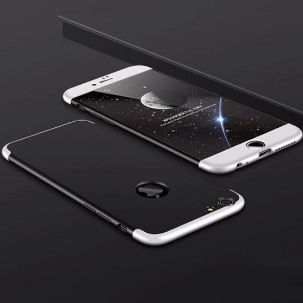 Capa iphone 7 8 frente e verso 360 cor preto com prata cinza
