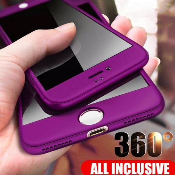 Capa iphone 7 8 frente e verso 360 cor roxo