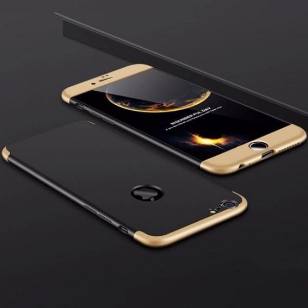 Capa iphone 7 8 frente e verso 360 tampas preto com dourado