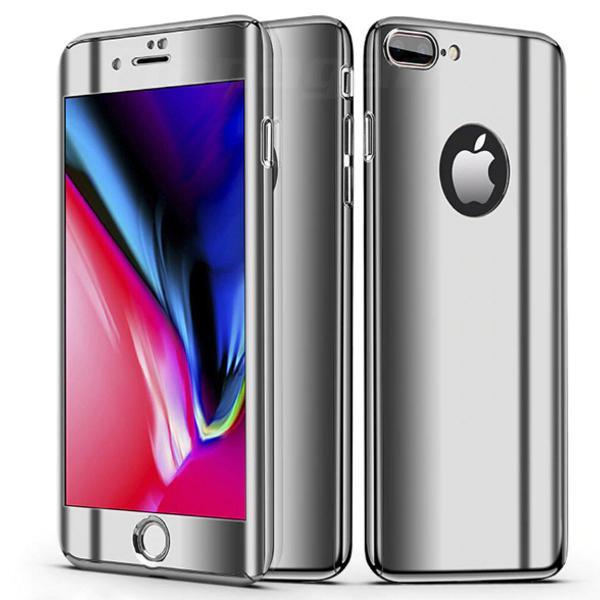 Capa iphone 7 8 prateado espelhado frente e verso +