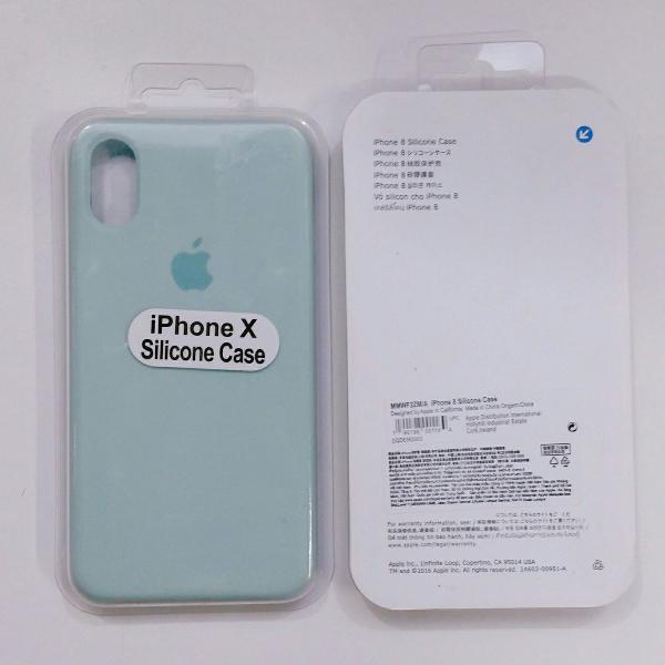 Capinha de celular apple iphone x na cor turquesa claro com