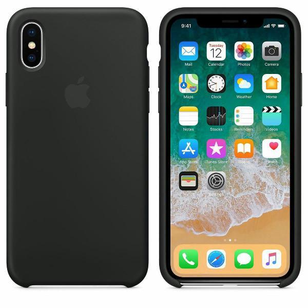 Capinha de celular apple iphone x preta com veludo dentro