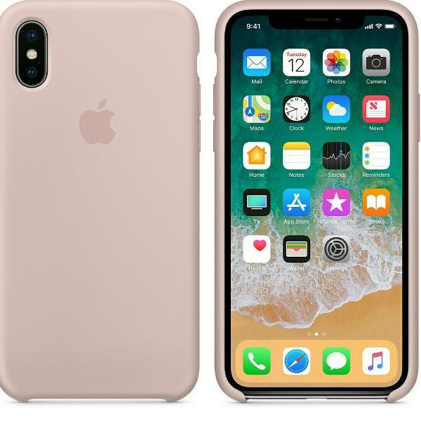 Capinha de celular apple iphone x silicone cor areia rosa