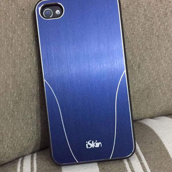Case capa iphone 4 4s azul metal escovado