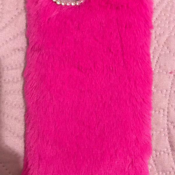 Case iphone 6s pelucia rosa pink laço brilho e capinha