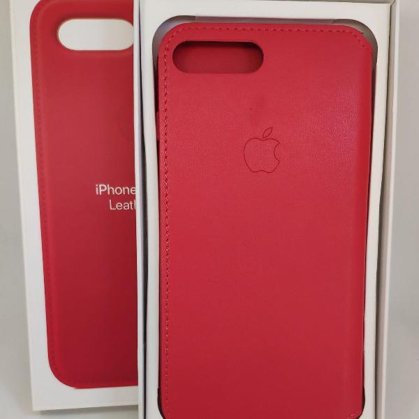 Case iphone 7/8 plus vermelho case couro carteira