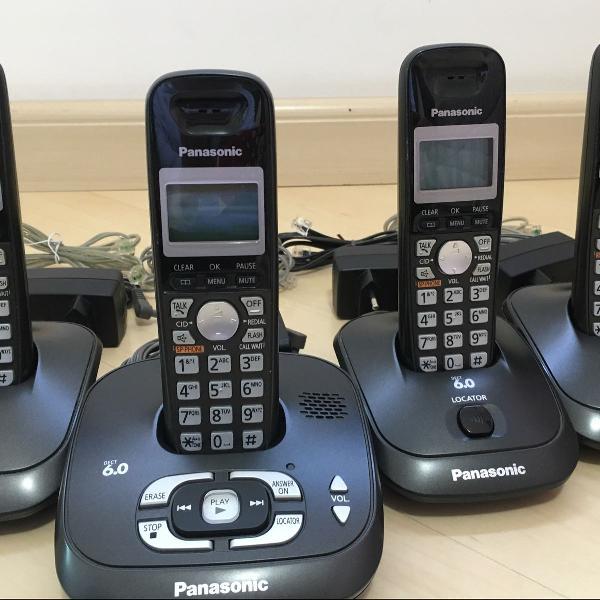 conjunto de 4 telefones sem fio com ramal e secretária