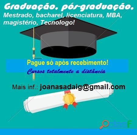 Graduação a distância sem pagar adiantado