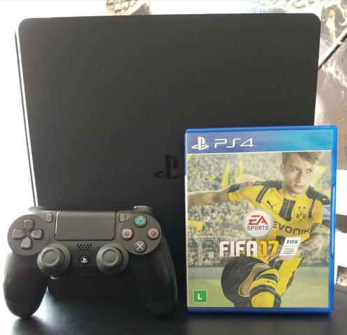 Playstation 4 slim 500gb (semi-novo) com 1 jogo de brinde +