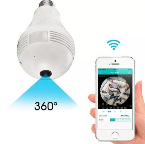 Lampada bulbo camera 360 hd espiao iphone android wifi v380