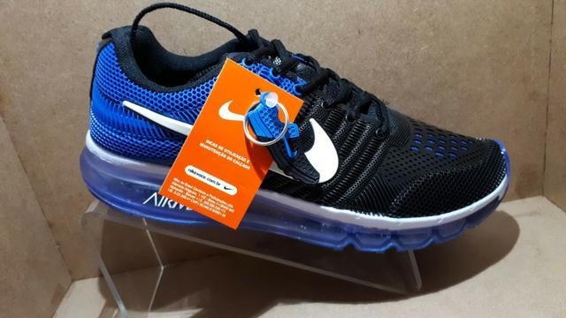Tênis nike air max - preto e azul - entrega grátis