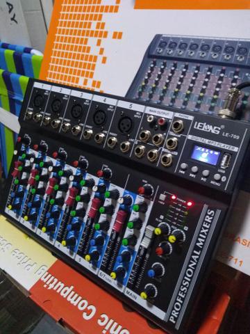 Mesa de som lelong 6 ch bluetooth usb e efeitos