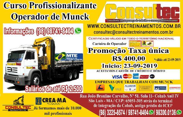 Curso para operador de munck de r$ 400,00 inicio dia