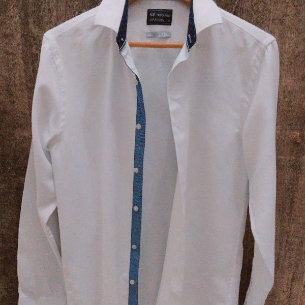 Camisa social branca masculina, tamanho 3 slim for