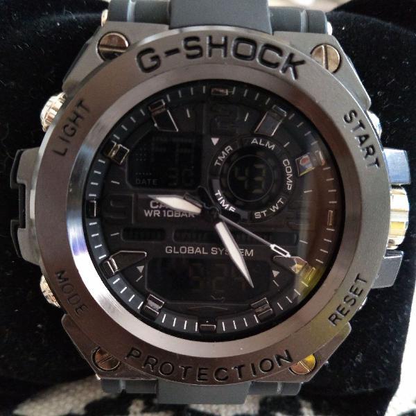 Relógio g-shock steel aço escovado prova d'água super