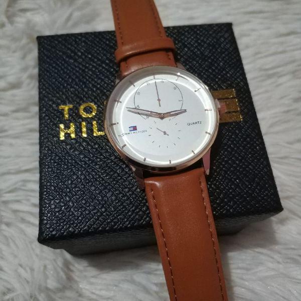 Relógio tommy hilfiger pulseira couro luxo