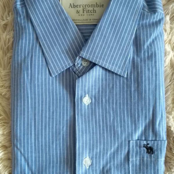 Camisa social abercrombie azul claro listrada tam g