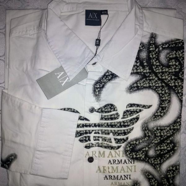 Camisa social giorgio armani branca estampada tam gg