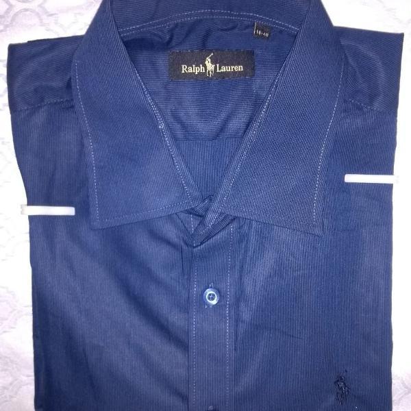 Camisa social ralph lauren azul marinho listrada tam m