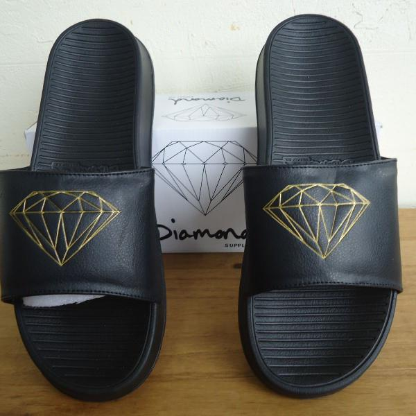 Chinelo diamond supply fairfax slide preto gold eua original