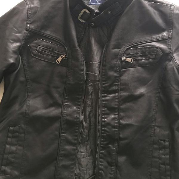 Jaqueta de couro preta tamanho m