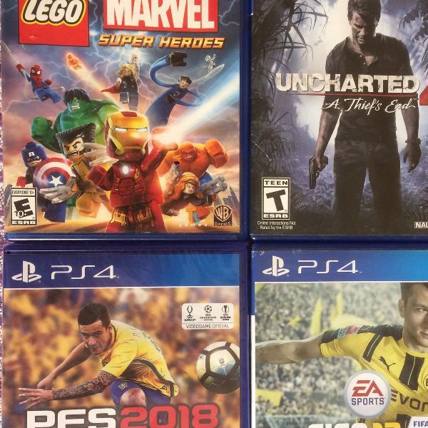 Jogos de ps4 fifa 17 pes 2018 uncharted 4 lego marvel