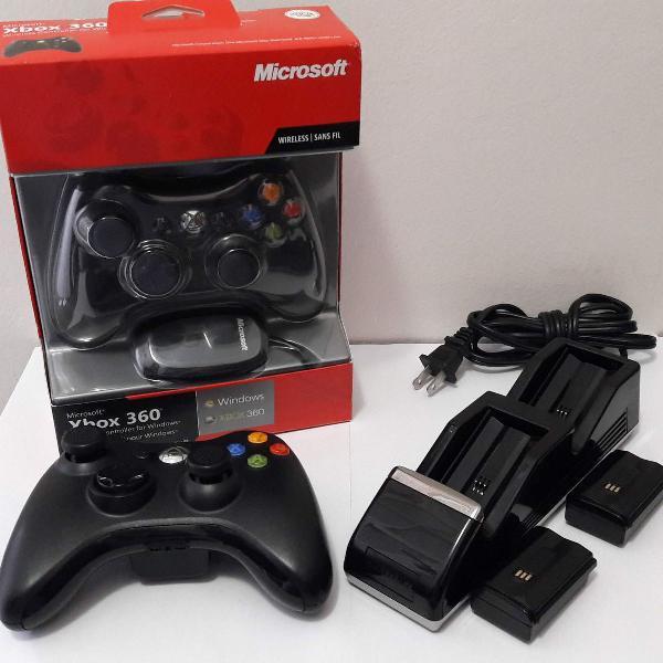 Kit com 2 controles xbox 360 originais + carregador com 2