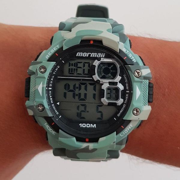 Relógio masculino mormaii mo13609a 55mm cinza camuflado