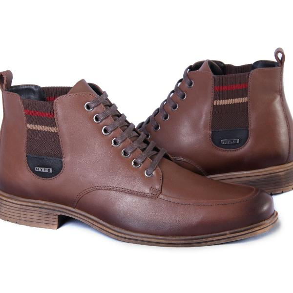 Sapato masculino bota botina elástico café couro legítimo