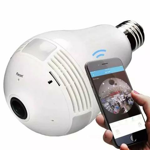 Câmera ip segurança lampada 360° panorâmica espia wifi