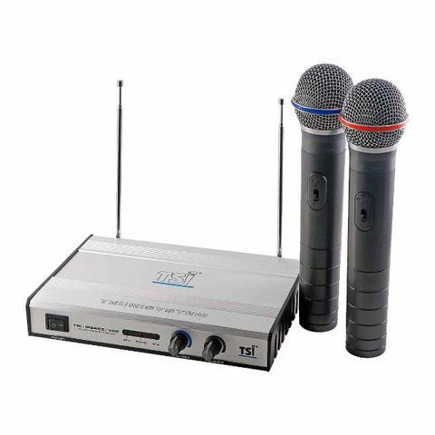 Tsi microfone sem fio duplo vhf produto novo loja fisica