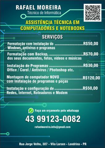 Assistência técnica, formatação de pc e notebook
