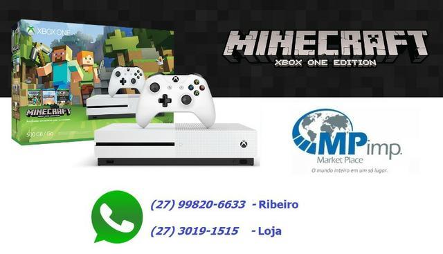 Xbox one s 500gb minecraft edição com jogo! novo! lacrado!