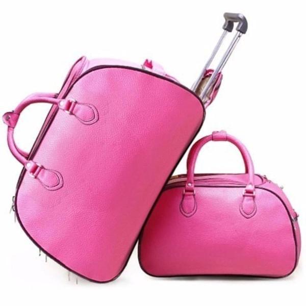Kit mala viagem rosa importada top de linha rosa pink