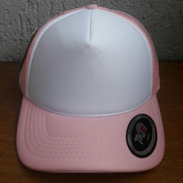 Boné trucker cap branco e rosa bebê