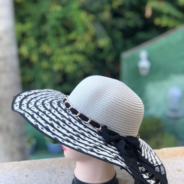 Chapéu palha preto e branco