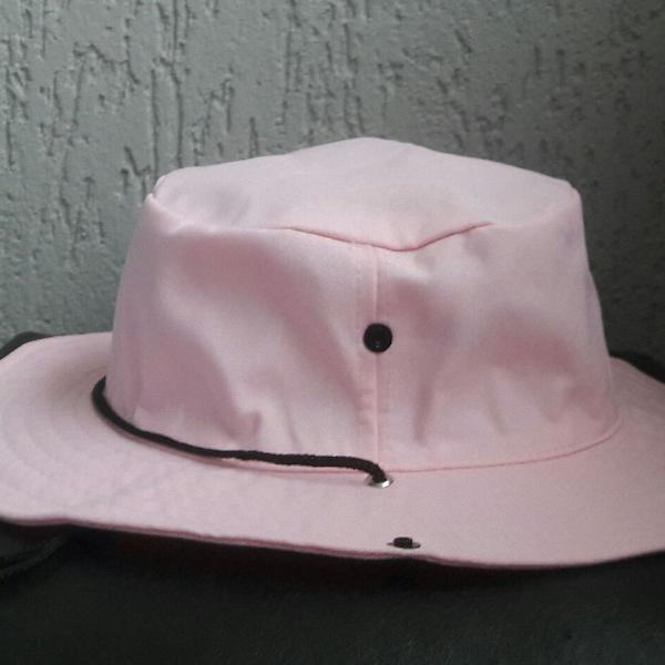 Chapéu rosa bebê pescador
